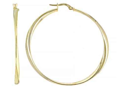 Pre-Owned 14K Yellow Gold Polished 40MM Twisted Round Hoop Earrings