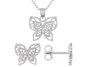 Pre-Owned White Cubic Zirconia Rhodium Over Sterling Silver Butterfly Earrings And Pendant With Chai