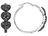 Pre-Owned Black spinel rhodium over sterling silver hoop earrings 2.93ctw