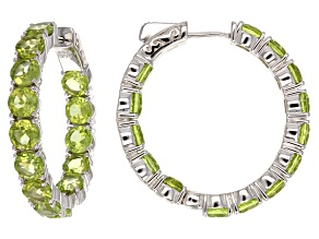 Pre-Owned Green Peridot inside-Outside Rhodium Over Sterling Silver Hoop Earrings 15.70ctw