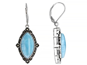 Pre-Owned Blue larimar Rhodium Over Silver Earrings