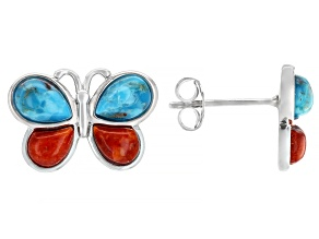 Pre-Owned Childrens Turquoise And Coral Rhodium Over Silver Butterfly Stud Earrings