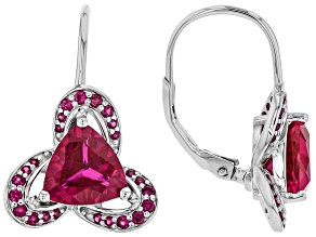Pre-Owned Red lab created ruby rhodium over silver earrings 3.24ctw