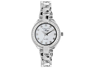 Pre-Owned Moissanite Platineve Watch With White Mother of Pearl Dial .84ctw DEW.