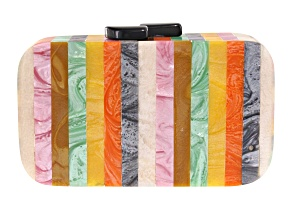 Pre-Owned Striped Multi-color  Wooden Clutch
