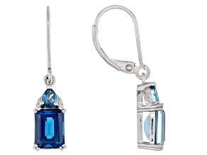 Pre-Owned London Blue Topaz Rhodium Over Sterling Silver Earrings 3.74ctw