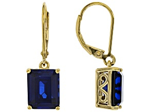 Pre-Owned Lab Created Blue Sapphire 18k Yellow Gold Over Silver Earrings 8.3ctw