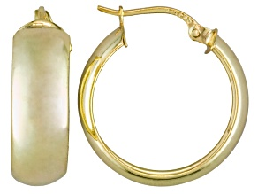 Pre-Owned Polished 18k Yellow Gold Over Sterling Silver 1/2 Round Hoop Earrings