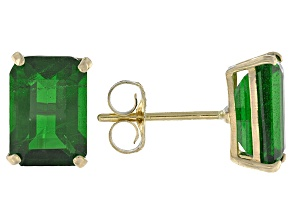 Pre-Owned Green Russian Chrome Diopside 10k Yellow Gold Stud Earrings 1.76ctw