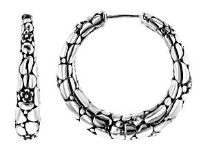 Pre-Owned Sterling Silver Floral Hoop Earrings