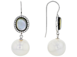 Pre-Owned Cultured Freshwater Pearl, Black Mother-Of-Pearl & Bella Luce(TM) Rhodium Over Silver Earr