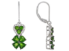 Pre-Owned Green chrome diopside rhodium over silver earrings 2.46ctw