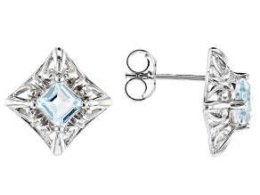 Pre-Owned  Blue Topaz Rhodium Over Sterling Silver Earrings 0.60ctw