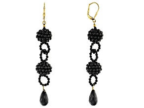 Pre-Owned Black Spinel 18K Yellow Gold Over Sterling Silver Dangle Earrings 39.25ctw