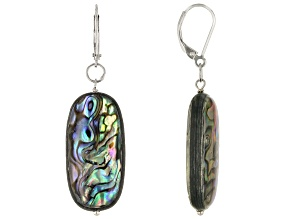 Pre-Owned Abalone Shell Rhodium Over Sterling Silver Earring