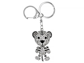 Pre-Owned White And Black Crystals Silver Tone Tiger Keychain