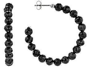 Pre-Owned Black Spinel Rhodium Over Sterling Silver J-Hoop Earrings 70.00ctw