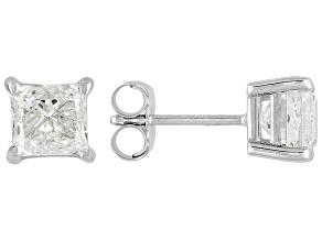 Pre-Owned Diamond 1.50ctw Princess Cut 14k White Gold Stud Earrings