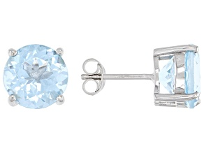Pre-Owned Sky Blue Topaz Rhodium Over Silver Stud Earrings 9.00ctw