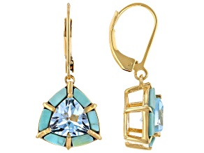 Pre-Owned Sky Blue Topaz 18k Yellow Gold Over Sterling Silver Earrings 4.00ctw