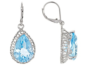 Pre-Owned Sky Blue Topaz Rhodium Over Sterling Silver Solitaire Earrings 18.00ctw
