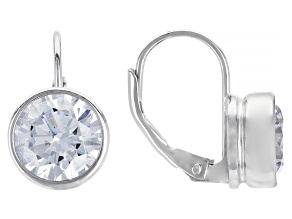 Pre-Owned White Cubic Zirconia Rhodium Over Sterling Silver Solitaire Drop Earrings 6.92ctw