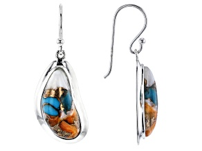 Pre-Owned Turquoise And Spiny Oyster Shell Blend Rhodium Over Silver Earrings