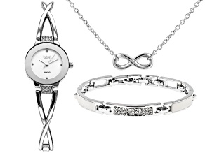 Pre-Owned Burgi™ Crystals From Swarovski™ Silver Tone Stainless Steel Watch Gift Set.