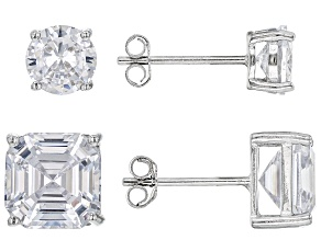 Pre-Owned Asscher Cut White Cubic Zirconia Rhodium Over Sterling Silver Earrings- Set of 2 4.25ctw