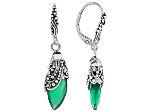 Pre-Owned Green Onyx Silver Earrings