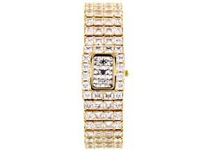 Pre-Owned Adee Kaye Beverly Hills White Crystal Gold Tone Pave Dial Watch