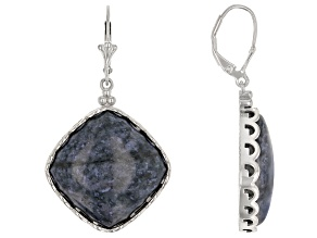 Pre-Owned Blue Dumortierite Rhodium Over Silver Earrings