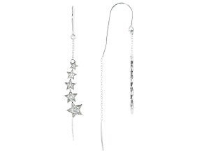 Pre-Owned White Cubic Zirconia Rhodium Over Sterling Silver Star Earrings 0.42ctw