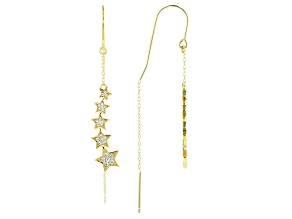 Pre-Owned White Cubic Zirconia 18K Yellow Gold Over Sterling Silver Star Earrings 0.42ctw