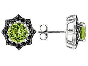 Pre-Owned Green peridot rhodium over sterling silver stud earrings 3.73ctw