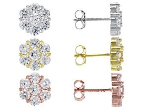 Pre-Owned White Cubic Zirconia Rhodium, 18K Yellow, & Rose Gold Over Silver Floral Earrings Set Of 3