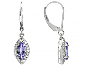 Pre-Owned Blue Tanzanite Rhodium Over Sterling Silver Earrings 1.10ctw