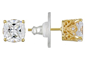 Pre-Owned Cubic Zirconia 18k Yellow Gold Over Silver Earrings 5.21ctw (3.96ctw DEW)