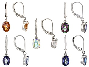 Pre-Owned Oval Assorted Mystic Topaz(TM) Rhodium Over Silver Earrings Box Set of 5 Pairs 15.50ctw