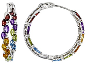 Pre-Owned Multi-Color Gemstone Rhodium Over Silver Hoop Earrings 4.99ctw