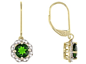 Pre-Owned Green Russian Chrome Diopside 10k Yellow Gold Earrings 1.86ctw