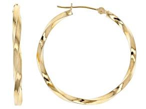 Pre-Owned 10K Yellow Gold Polished 30MM Twist Tube Hoop Earrings