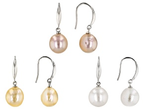 Pre-Owned Natural Multi-color Cultured Freshwater Pearl 9.5mm Rhodium Over Sterling Silver Earrings