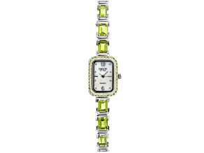 Pre-Owned 11.04ctw Green Peridot Mop Dial Sterling Silver Watch