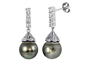 Pre-Owned Rhodium Over Sterling Silver 11mm Tahitian Cultured Pearl Dangle Earrings