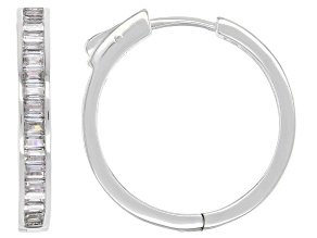 Pre-Owned White Cubic Zirconia Rhodium Over Sterling Silver Inside Out Hoop Earrings 3.36ctw