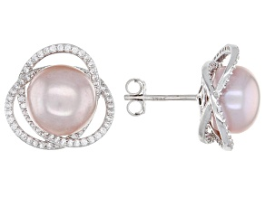 Pre-Owned Pink Cultured Freshwater Pearl & Cubic Zirconia Rhodium Over Sterling Silver Earrings