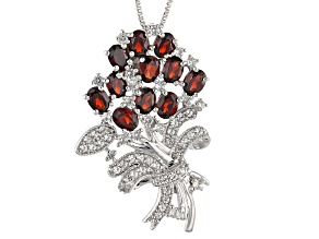 Pre-Owned Red Garnet Sterling Silver Brooch/Pendant With Chain 3.11ctw