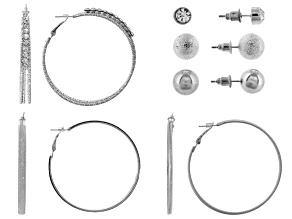 Pre-Owned White Crystal Silver Tone Stud And Hoop Earring Set Of 6