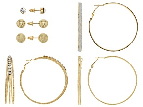 Pre-Owned White Crystal Gold Tone Stud And Hoop Earring Set Of 6